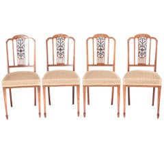 Outstanding Quality Set of Four Edwardian Inlaid Hardwood Dining Chairs