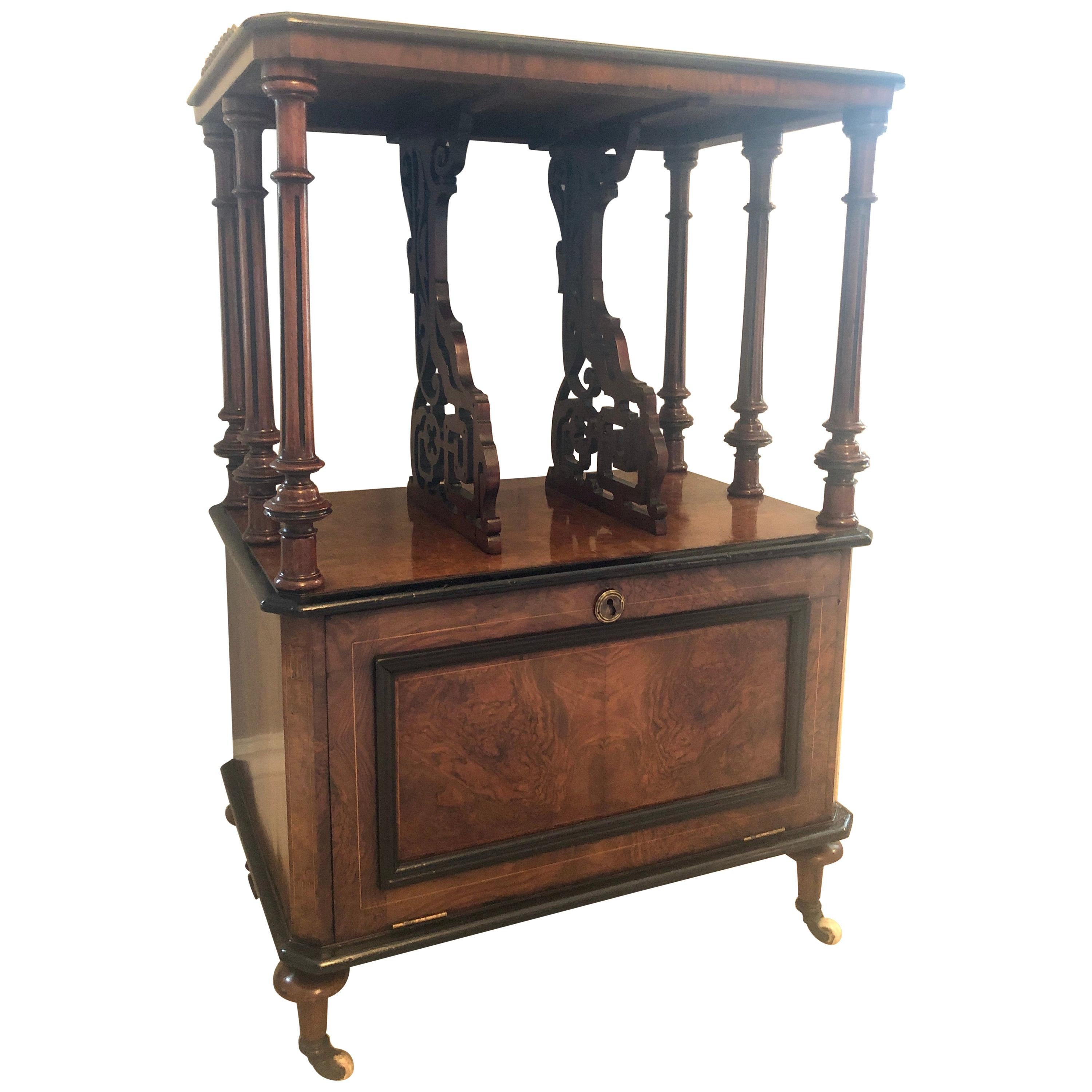 Outstanding Quality Victorian Inlaid Burr Walnut Music Cabinet/Canterbury