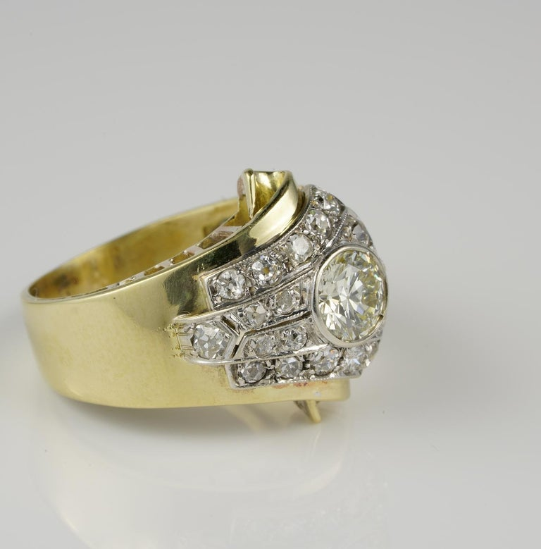 Be Mine!  An outstanding authentic Art Deco ring in beautiful Buckle design 1925 ca hand crafted as unique during the time of 18 KT gold with PLATINUM top Brooches and rings employed buckles as decorative motifs along the Victorian period finding