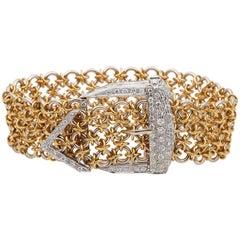 Outstanding Retro 1.45 Carat Diamond Buckle Bracelet 18 Karat Gold
