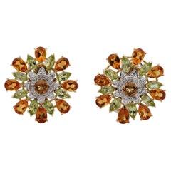Outstanding Retro Large Flower Citrine Peridot and Diamond Earrings