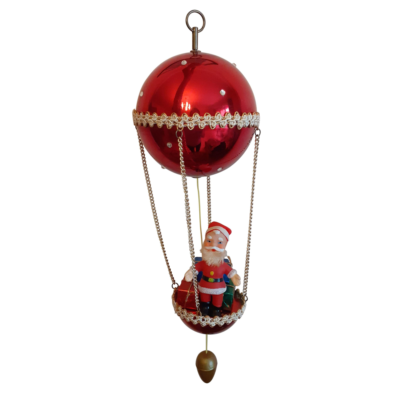 Outstanding Santa Claus Hot Air Balloon Music Box Rotating Christmas Ornament