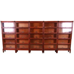 Outstanding Set of Five Globe Wernicke Mahogany Barrister Bookcases, Circa 1890s