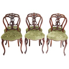 Outstanding Set of Six 19th Century Victorian Walnut Dining Chairs