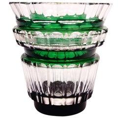 Outstanding Val Saint Lambert Green Crystal Vase, circa 1950s