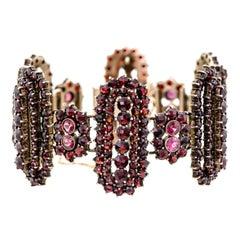 Outstanding Vintage Garnet and Gilt Hinged Wide Flexible Bracelet