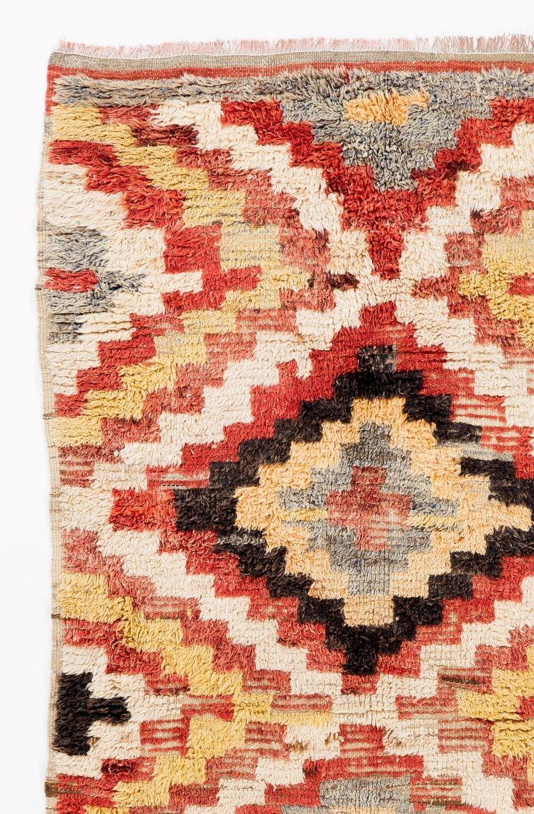 Turkish Colorful Vintage Hand-knotted Wool Tulu Long Rug For Sale