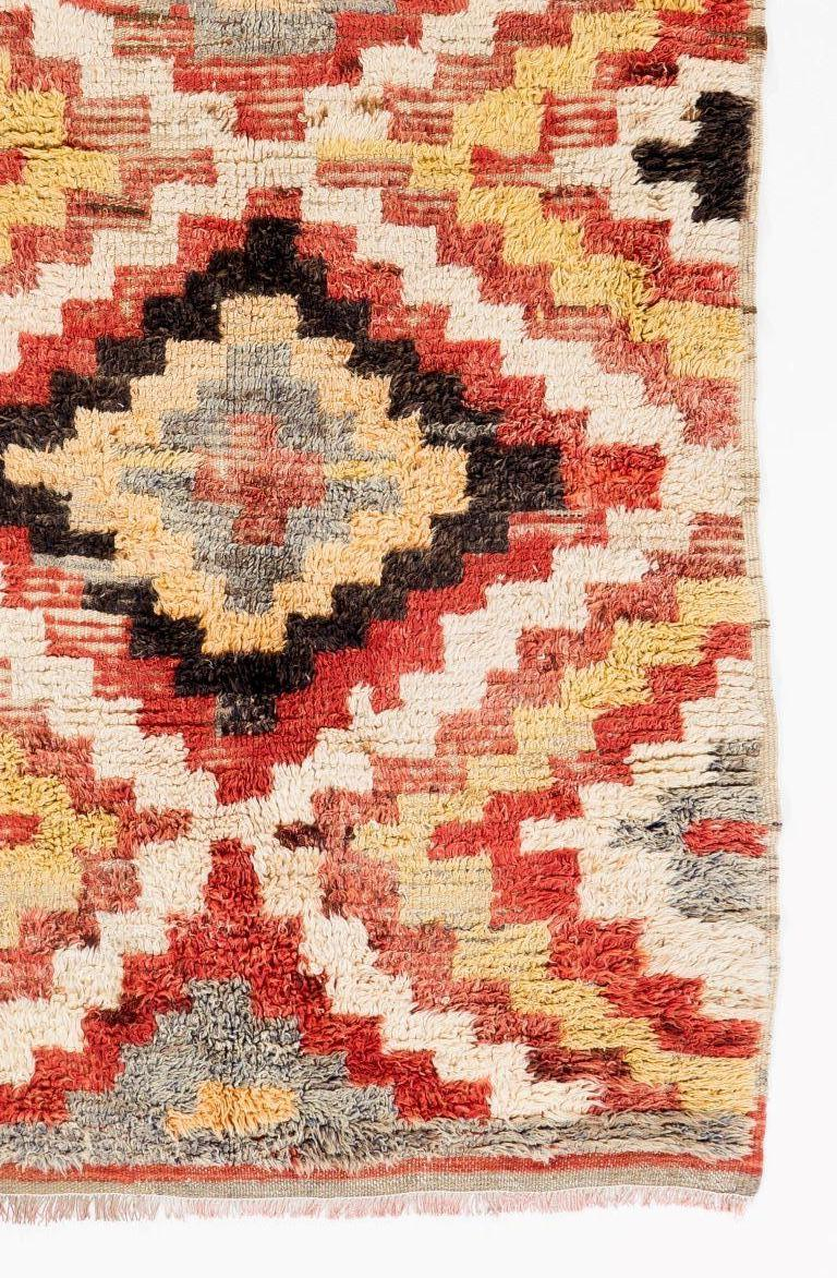Hand-Knotted Colorful Vintage Hand-knotted Wool Tulu Long Rug For Sale