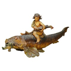 Outstanding Wooden Sculpture of a Danube Salmon, Austria, ca. 1900
