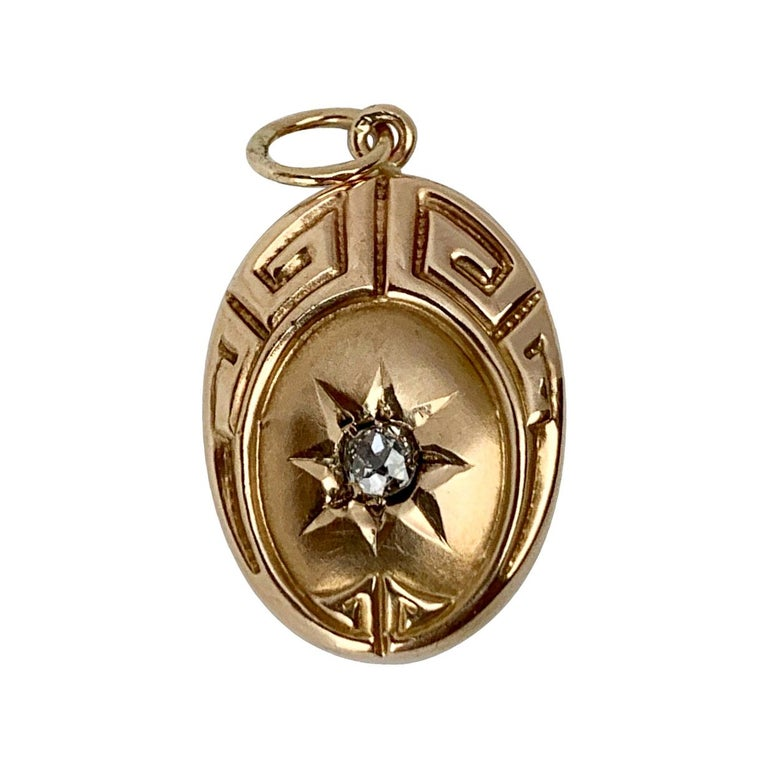 Greek Key Motif Oval Pendant with Diamond- 10 Karat Yellow Gold