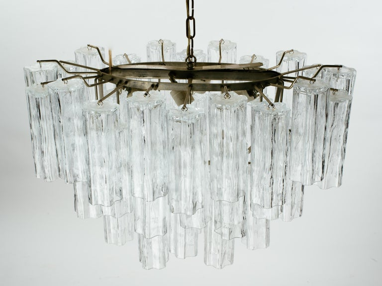 Molded Oval 1970s Italian Glass Tube Tiered Chandelier For Sale