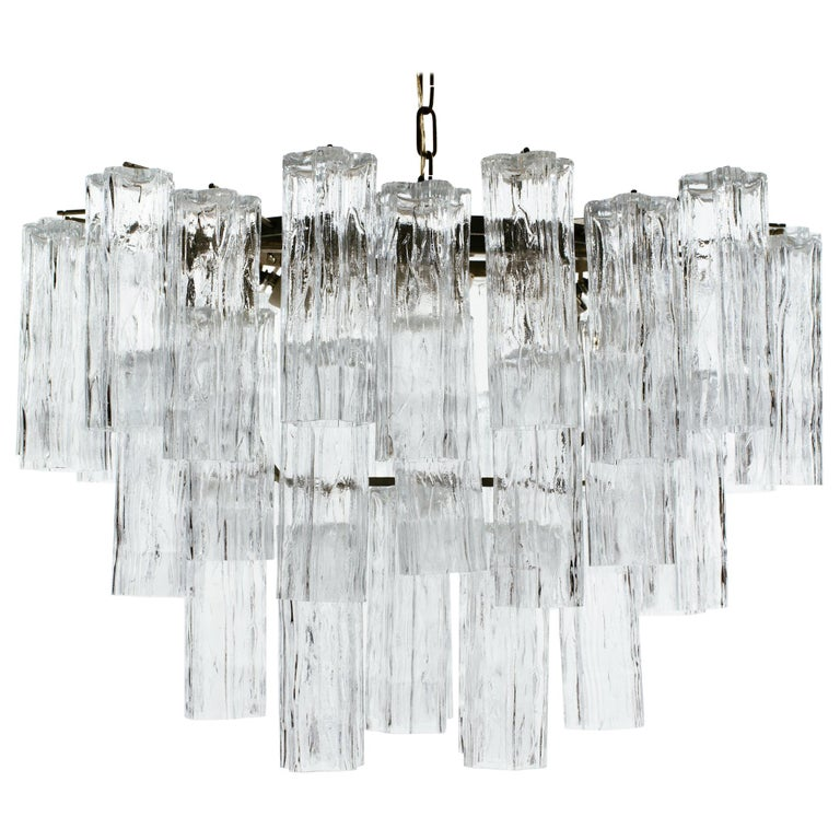Oval 1970s Italian Glass Tube Tiered Chandelier For Sale