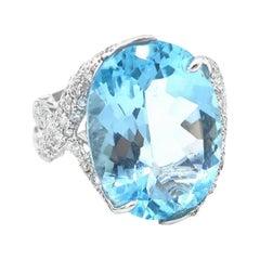 Oval 19.94 Carat Blue Topaz Diamond White Gold Ring
