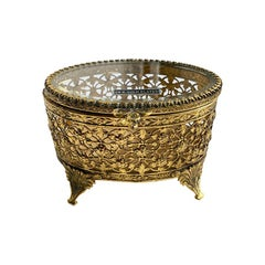 Oval 24k Gold Plated Pierced Glass Footed Jewelry Box with Lid