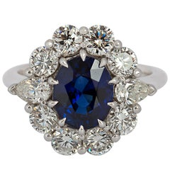 Oval 2.73 Carat Blue Sapphire and Diamond Ring
