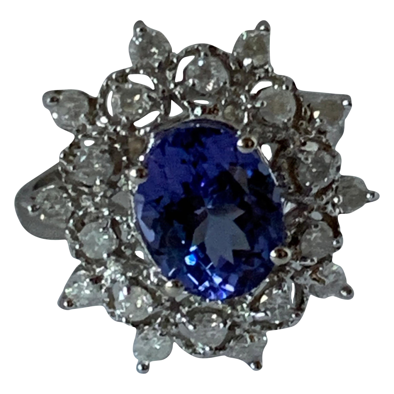Oval AA Tanzanite and Diamond Ring