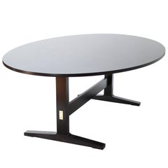 Oval Acre Trestle Dining Table in Ebony Black Stain on Maple by O&G Studio