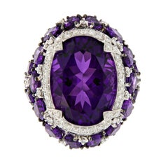 Oval Amethyst Diamond Cocktail Ring