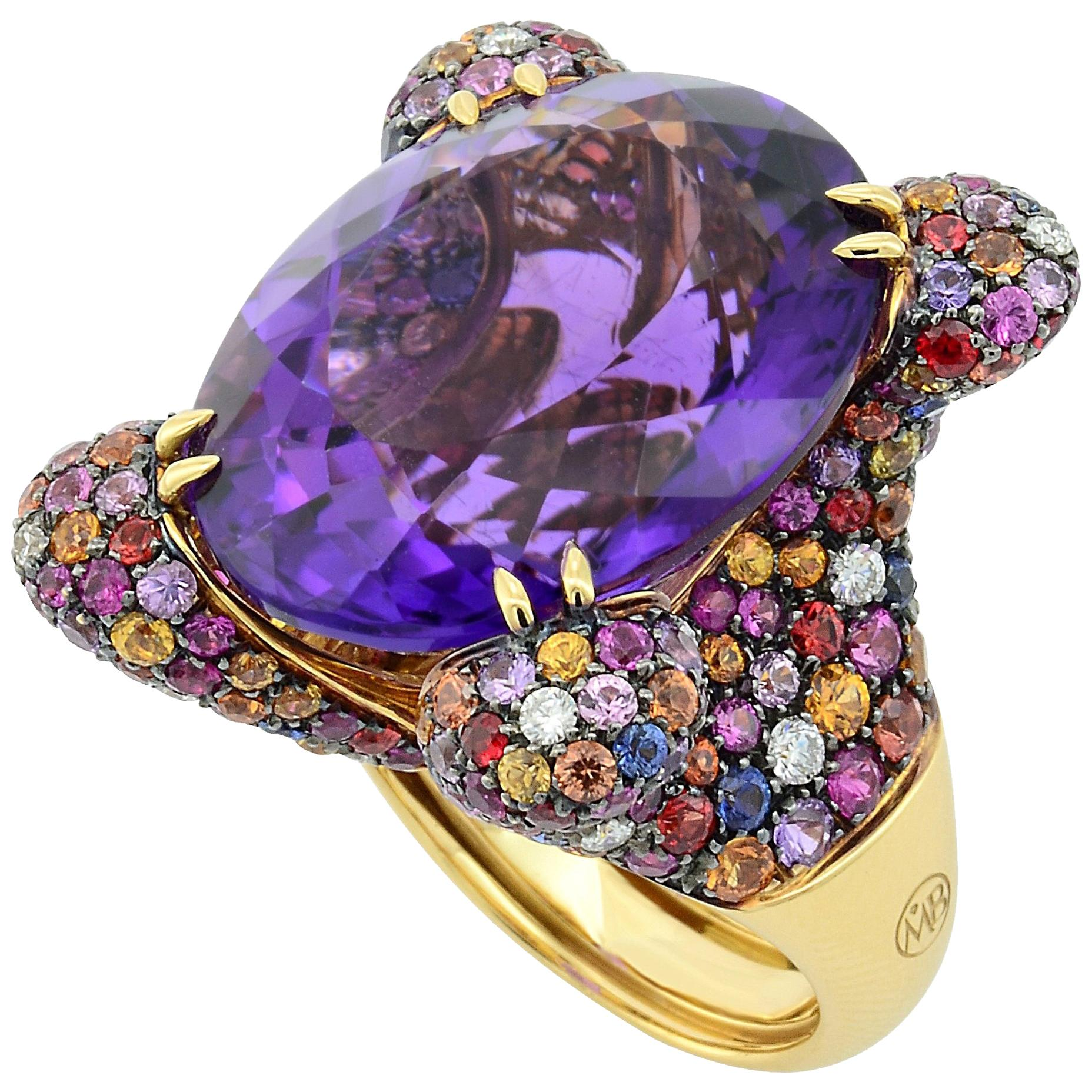 Oval Amethyst Sapphires Diamonds 18KT Yellow Gold Made in Italy Cocktail Ring