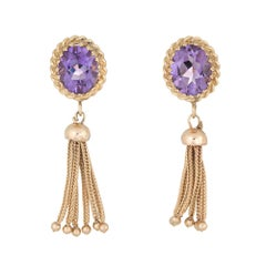 Oval Amethyst Tassel Earrings 14 Karat Gold Fringe Drops Estate Fine Jewelry