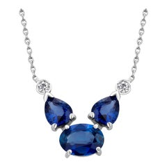 Oval and Pear Sapphires and Two Diamonds Gold Drop Pendant Necklace