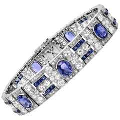 Oval and Princess Cut Blue Sapphires Diamonds 18 Karat Gold Bracelet