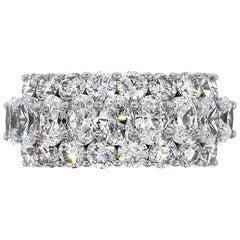 Oval and Round Diamond Three-Row Ring