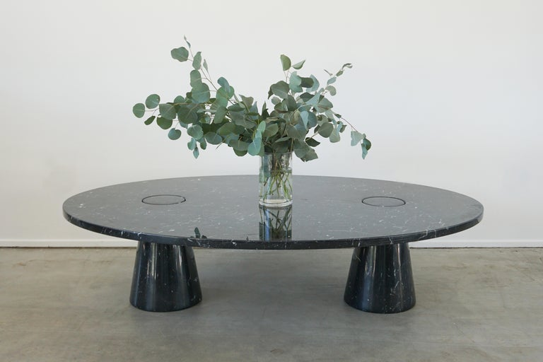 Impressively large scale oval shaped coffee table by Angelo Mangiarotti for Eros 