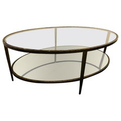 Oval Antiqued Metal Coffee / Low Table with Glass Top