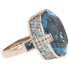 Oval Aquamarine and Diamond Cocktail Ring