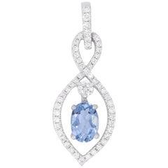 Oval Aquamarine and Diamond Pendant
