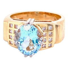 Oval Aquamarine Cocktail Ring
