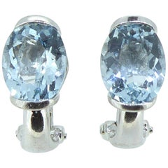 Oval Aquamarine Earrings, White Gold, Pre-Owned