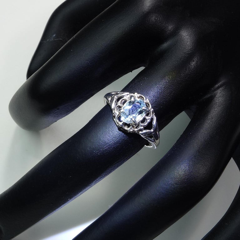 Oval Cut Oval Aquamarine Set in Sterling Silver Ring For Sale
