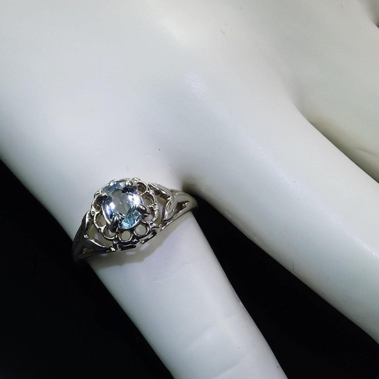 Oval Aquamarine Set in Sterling Silver Ring In New Condition For Sale In Tuxedo Park , NY
