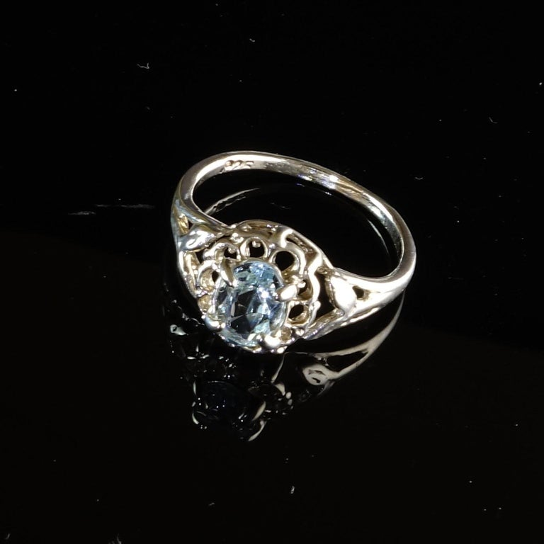 Oval Aquamarine Set in Sterling Silver Ring For Sale 2