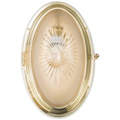 Oval Art Deco Ceiling Lamp with Original Cut Glass and Wood Plate