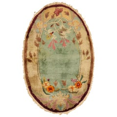 Oval Art Deco Green Chinese Nichols Rug