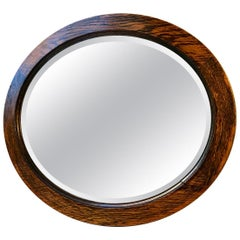 Oval Art Deco Mirror in Oak, England, circa 1920