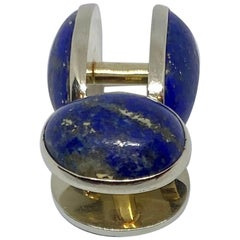 """Oval Art Deco """"Spool"""" Cufflinks in White Gold with Lapis"""
