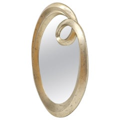 Oval Art Nouveau Style Silver Leaf Mirror