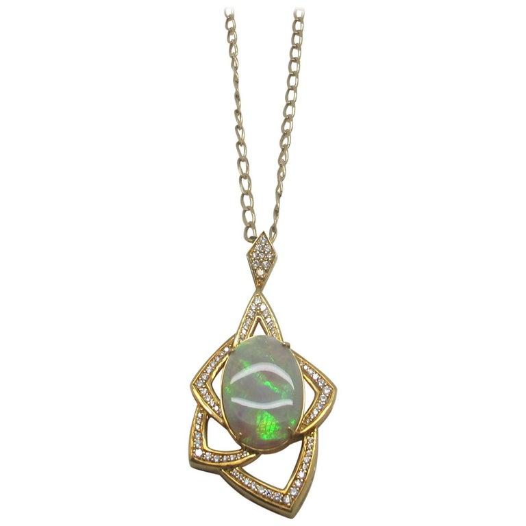 Oval Australian Opal with 1.50 Carat Diamonds 18 Karat Yellow Gold Pendant For Sale