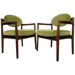 Armchairs 'Oval-Back' by Jens Risom in Walnut and Sage Green Velvet