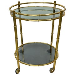 Oval Bar Cart Faux Bamboo Brass and Smoked Glass, Italy, 1960s