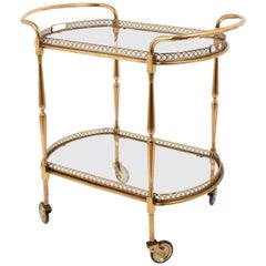 Oval Bar Trolley, with Service Tray of Maison Baguès, Bar Cart, France, 1950s