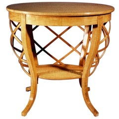 Oval Basket Side Table in Curly Maple