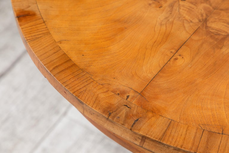 Oval Biedermeier Style Table with Burl Wood Marquetry For Sale 7