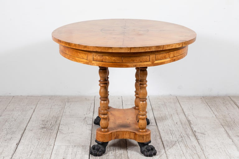 Oval Biedermeier Style Table with Burl Wood Marquetry For Sale 4