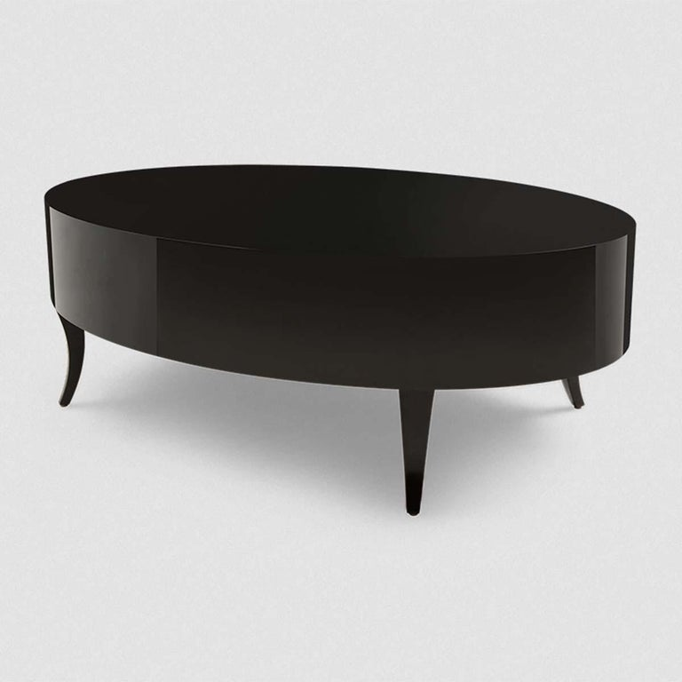English Oval Black Lak Coffee Table For Sale