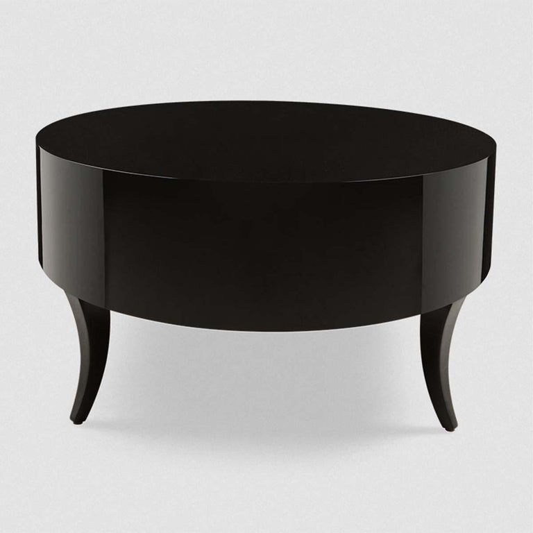 Lacquered Oval Black Lak Coffee Table For Sale